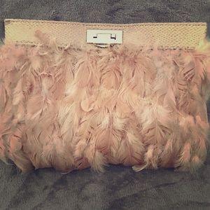 Blush feather clutch